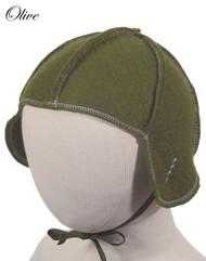 Little Deer: Pilot Cap in Olive Green