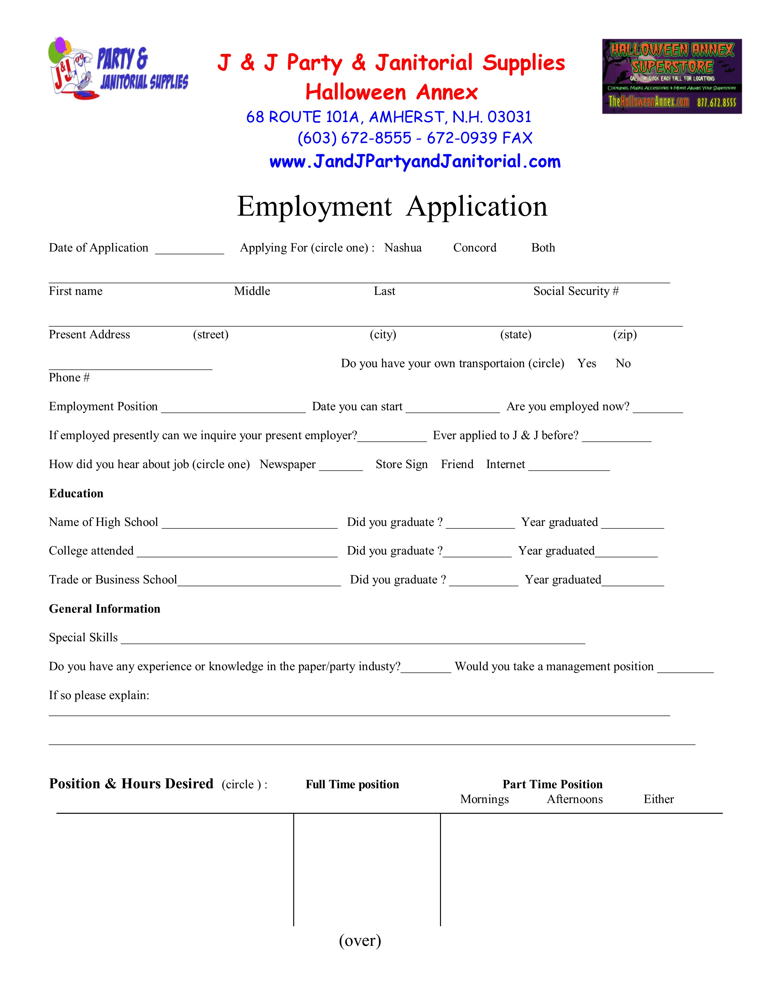 Employment Applications - J & J Party & Janitorial Supplies L.L.C.