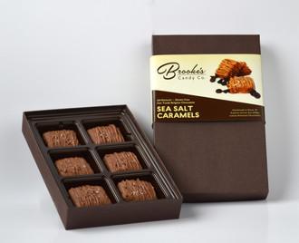 SEA SALT CARAMELS made with Fair Trade Belgian Chocolate 6 pc. Box (Naturally Gluten Free)