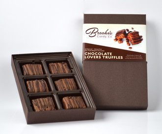 CHOCOLATE LOVERS TRUFFLES made with Fair Trade Belgian Chocolate 6 pc. Box (Naturally Gluten Free)