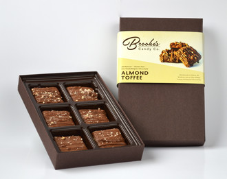 ALMOND TOFFEE made with Fair Trade Belgian Chocolate 6 pc.  Box (Naturally Gluten Free)