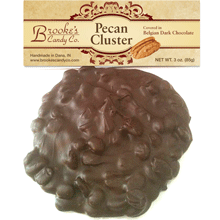 Pecan Cluster covered in the finest handmade Belgian Milk or Dark Chocolate