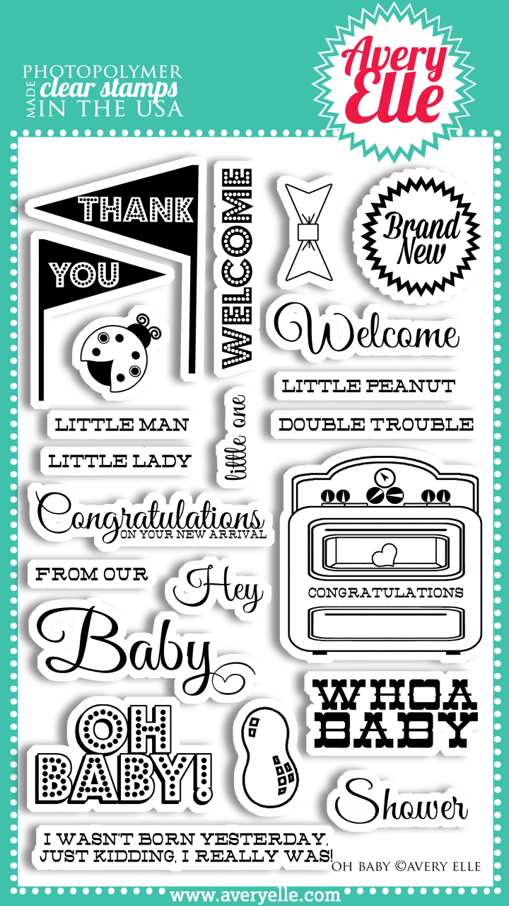 "Our Oh Baby 4"" x 6"" clear photopolymer stamp set is perfect for creating the perfect baby shower project, baby thank you notes or offering your congratulations to a new mother.  The classic sentiments in this set are sure to be used time and again for little boys, girls or twins."