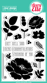 "Our 4"" x 6"" Petals and Stems Clear Photopolymer stamp set is perfect to create beautiful cards and layouts.   Stamp the sentiments inside a ring of flowers and leaves.  Create your own bouquet.  The possibilities are endless."
