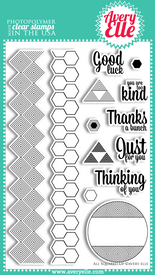 "Our 4"" x 6"" All Squared Up Clear Photopolymer stamp set is perfect to create bold backgrounds and sayings.   Stamp the border strip to create your own patterned paper.  Use the coordinating tag and sentiment images for a professional look.  All sentiments fit inside of the tag."