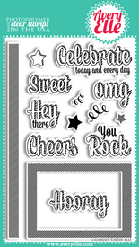 "Our 4"" x 6"" Celebrate Clear Photopolymer stamp set is just plain fun.   Stamp the border strip to create your own patterned paper.  Use the coordinating frame and sentiment images for a professional look.  All sentiments fit inside of the frame."