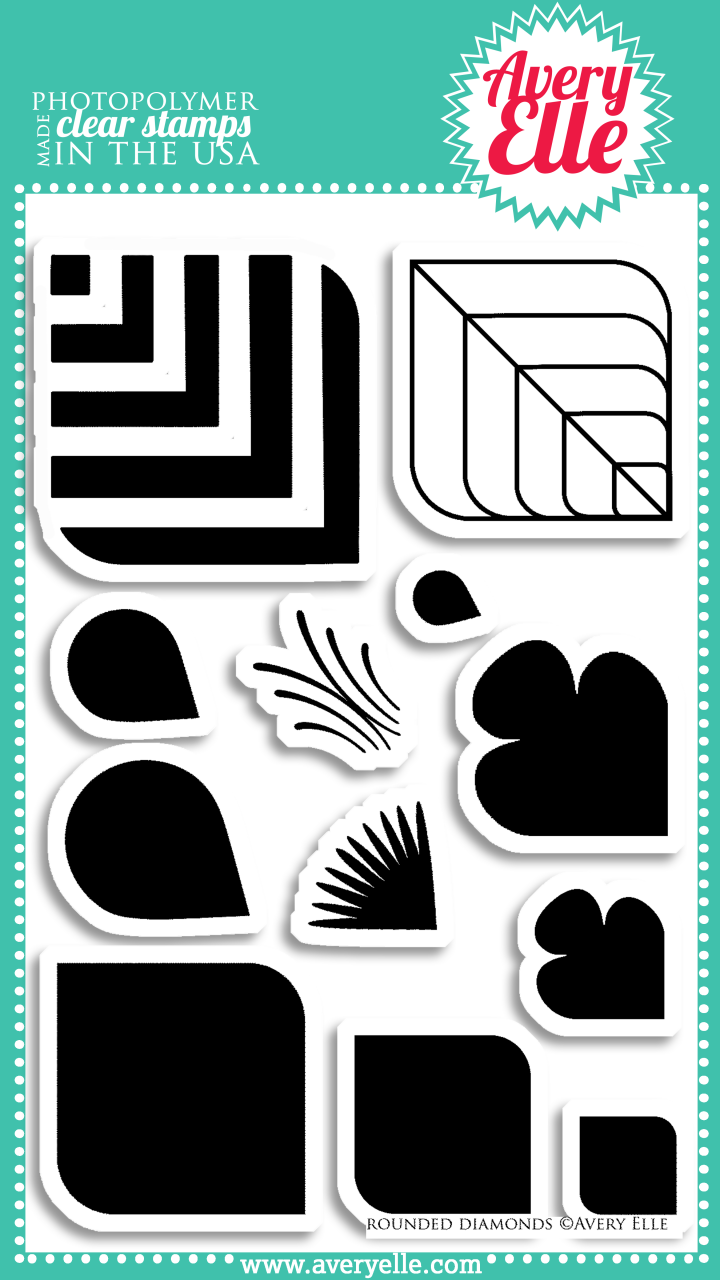 "We think our 4"" x 6""  Rounded Diamonds clear photopolymer stamps have so many uses.  Make flowers, feathers, leaves, retro patterns and more.  Consider using the coordinating steel dies to cut out the shapes to create professional results."