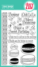 "Our 4"" x 6"" Bonjour clear photopolymer stamp set is deliciously cute.  Create macarons in various colors and sizes.  Add the background building strip, flourishes and sentiments to customize your creation.  This is the perfect set for a get well, birthday, hello or thank you card"
