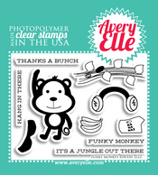 "Our 4"" x 3"" Funky Monkey clear photopolymer stamp set may be small in size, but is SO cute.  Combine the monkey and accessories included in this set to create a fun and ""hip"" greeting."