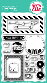 "Our 4"" x 6"" Air Mail clear photopolymer stamp set is perfect for creating a fun greeting.  The sentiments included in this set are great for envelopes, the back of cards and for a fun hello.  The labels included in this set are sure to be used time and again."
