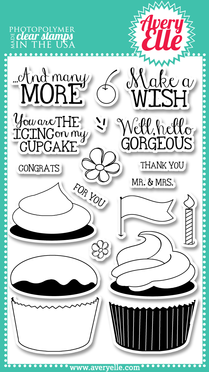"Our 4"" x 6"" Cupcakes clear photopolymer stamp set is perfect for creating a sweet greeting.  The sentiments included in this set are great for birthdays or a sweet hello."