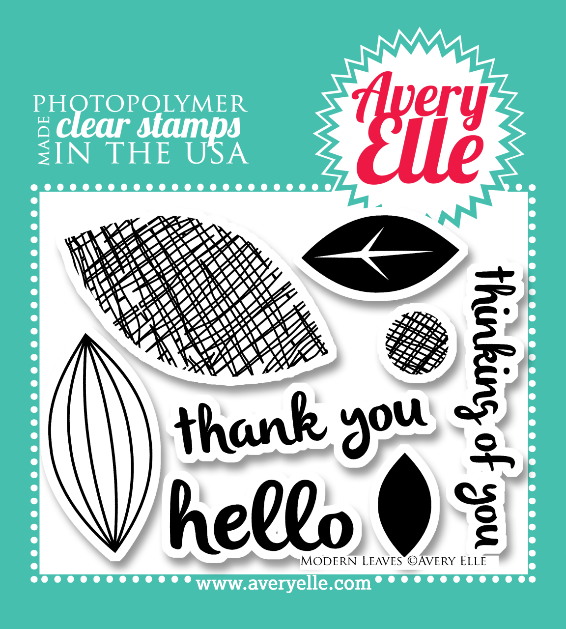 "Our 4"" x 3"" Modern Leaves clear photopolymer stamp set (designed by JJ Bolton) may be small in size, but is a versatile and classic set. Stamp the ""leaves"" to make flower petals, leaf images, a retro background and more. Consider using our coordinating Modern Leaves dies to create professional results."