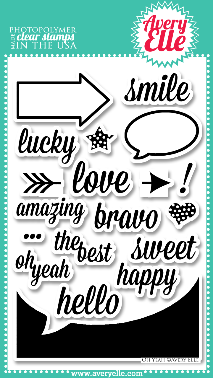 "Our 4"" x 6"" Oh Yeah clear photopolymer stamp set  (concept by Heather Campbell) is perfect for fun and fresh cards, project life or scrapbook pages.  Stamp the sentiments inside the speech bubble or arrow frame for a neat look.  The arrow image has a square base to make it easy to line up.  It can be stamped on either side of a sentiment to create an arrow with a message!  Use the negative speech bubble image to create your own journaling cards.  The possibilities are endless.  Consider using our coordinating Oh Yeah Elle-ments Dies to create professional results."