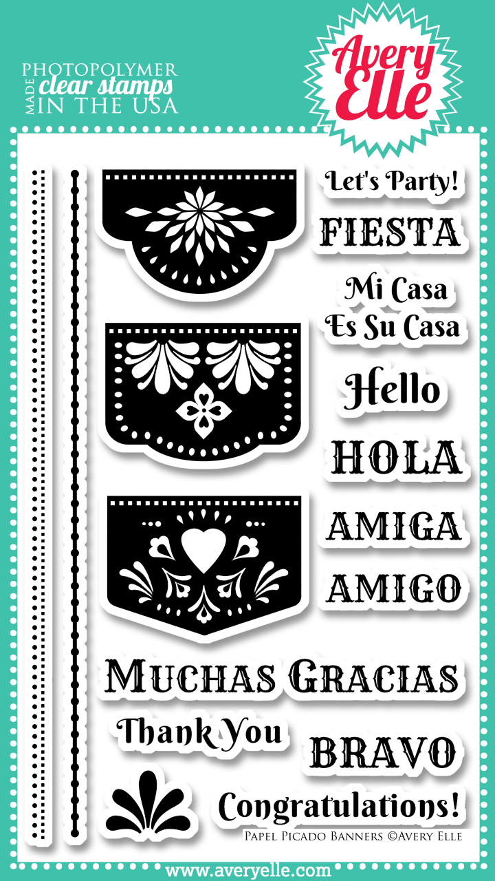 "Use the banners in our 4"" x 6"" Papel Picado Banners clear photopolymer stamp set (designed by Rebecca Terni) to create fun and festive invitations, thank you notes or scrapbook pages. The classic banner images used in bright colors are perfect for your next fiesta! Consider using our coordinating Papel Picado Banners Elle-ments Dies to create professional results."