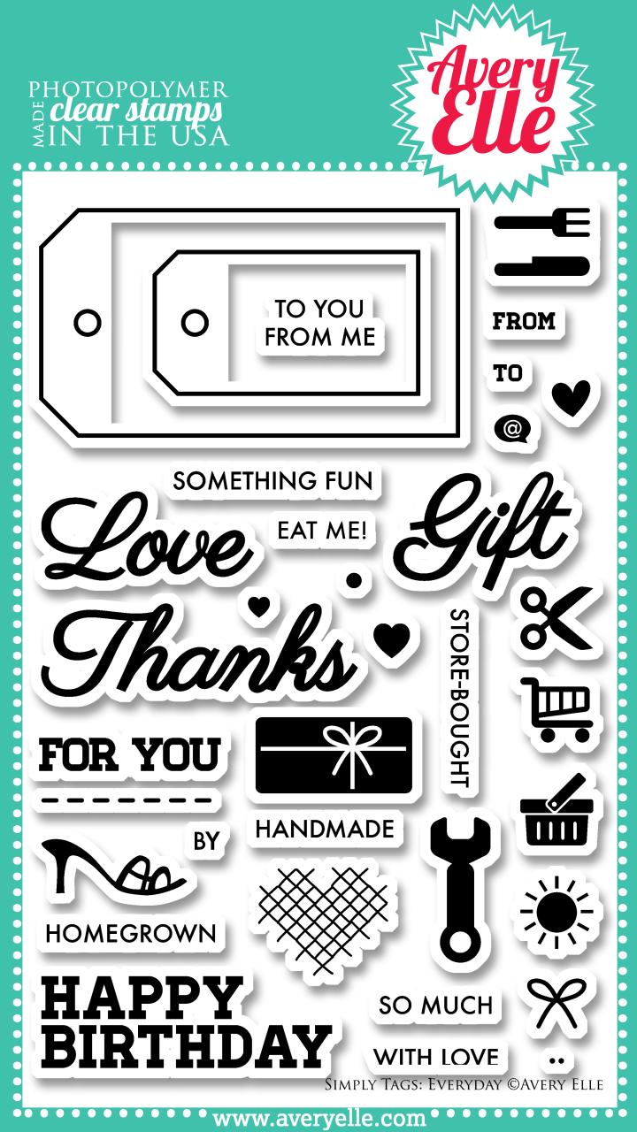 "Our 4"" x 6"" Simply Tags:Everyday clear photopolymer stamp set (designed by Nina Yang) is exactly what you need to create the perfect gift tag . With sentiments for handmade, store-bought and homegrown gifts this set is a must have staple in any stamper's collection. Use the coordinating Simply Tags: Everyday Elle-ments custom steel die to create a professional look."