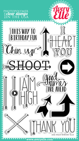 "We love our 4"" x 6"" Aim High clear photopolymer stamp set.  The sentiments and trendy arrows in this set are fun, fresh and perfect for so many occasions.  Use them with the coordinating Aim High Elle-ments Dies to create professional results."