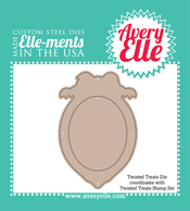 Our Twisted Treats Elle-ments Custom Steel Dies are exclusive to Avery Elle.  These premium steel dies coordinate with our Twisted Treats clear photopolymer stamp set and are proudly made in the USA.