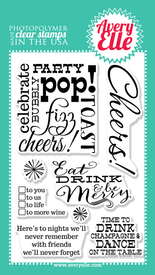 "Our 4"" x 6"" Cheers clear stamp set is exactly what you need to create a fun and festive gift tag or card.  Use this set and our coordinating Cheers Elle-ments Wine Tag steel die to create hostess gifts, Holiday presents, New Years,wedding gifts or just because."