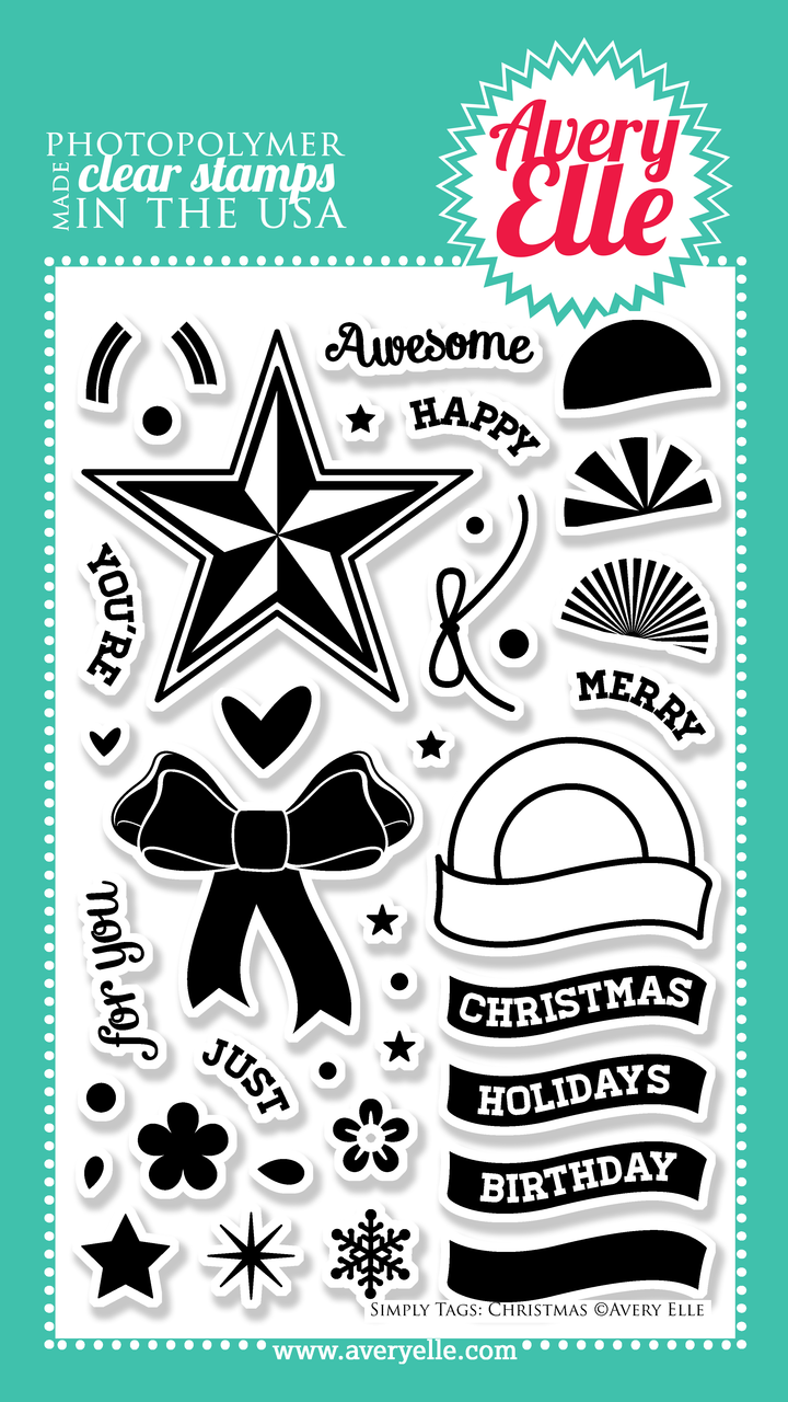"Our 4"" x 6"" Simply Tags:Christmas clear photopolymer stamp set (designed by Nina Yang) is exactly what you need to create the perfect Holiday, Birthday or just because gift tags and cards.  With sentiments for so many occasions this set is a must have staple in any stamper's collection. Use the coordinating Simply Tags: Christmas Ornament &  Simply Tags: Christmas Bow Elle-ments custom steel dies to create a professional look."