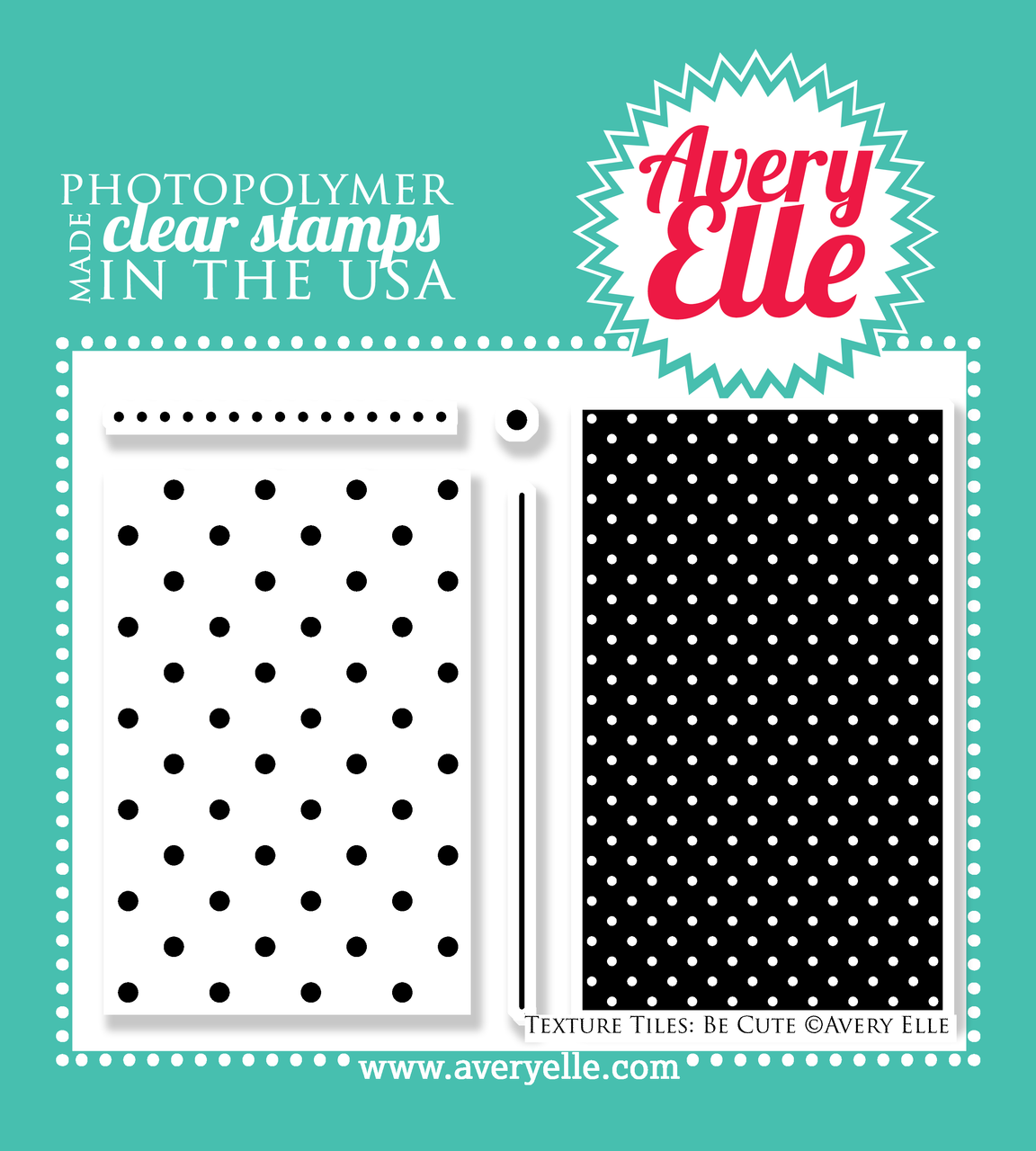 "Our 4"" x 6"" Texture Tiles: Be Cute clear stamp set (designed by Nina Yang) has so many possibilites .  Stamp the polka dot textures and patterns onto a tag, card, journal card to create your own custom background. ""Kiss"" your solid image stamps with these stamps to create even more depth and interest on your projects."