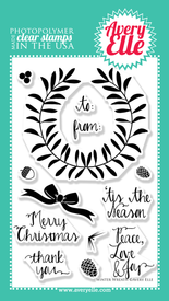 """Use our 4"""" x 6"""" Winter Wreath clear stamp set to stamp a gorgeous fall, holiday or winter wreath perfect for gift tags and cards. Use stamps from our Laurels clear stamp set with this set for even more options."""