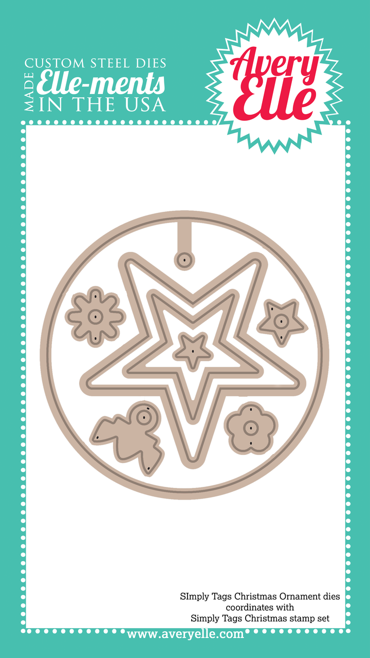 Our Simply Tags: Christmas Ornament Elle-ments Custom Steel dies (designed by Nina Yang) are exclusive to Avery Elle.  These premium steel dies coordinate with our Simply Tags: Christmas clear stamp set and are proudly made in the USA.