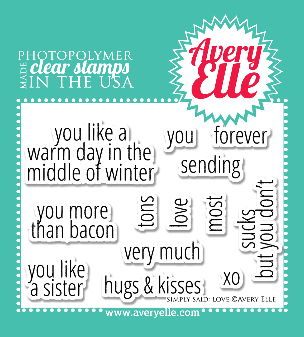 Simply Said: Love clear stamp set.  Coordinates with Simply Said: Love die.
