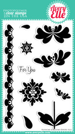 This cute clear photopolymer stamp set gives owners the option to mix and match the stems, blooms and leaves.  Also included is a border stamp that can be used as a bold lace print or decorative embellishment.