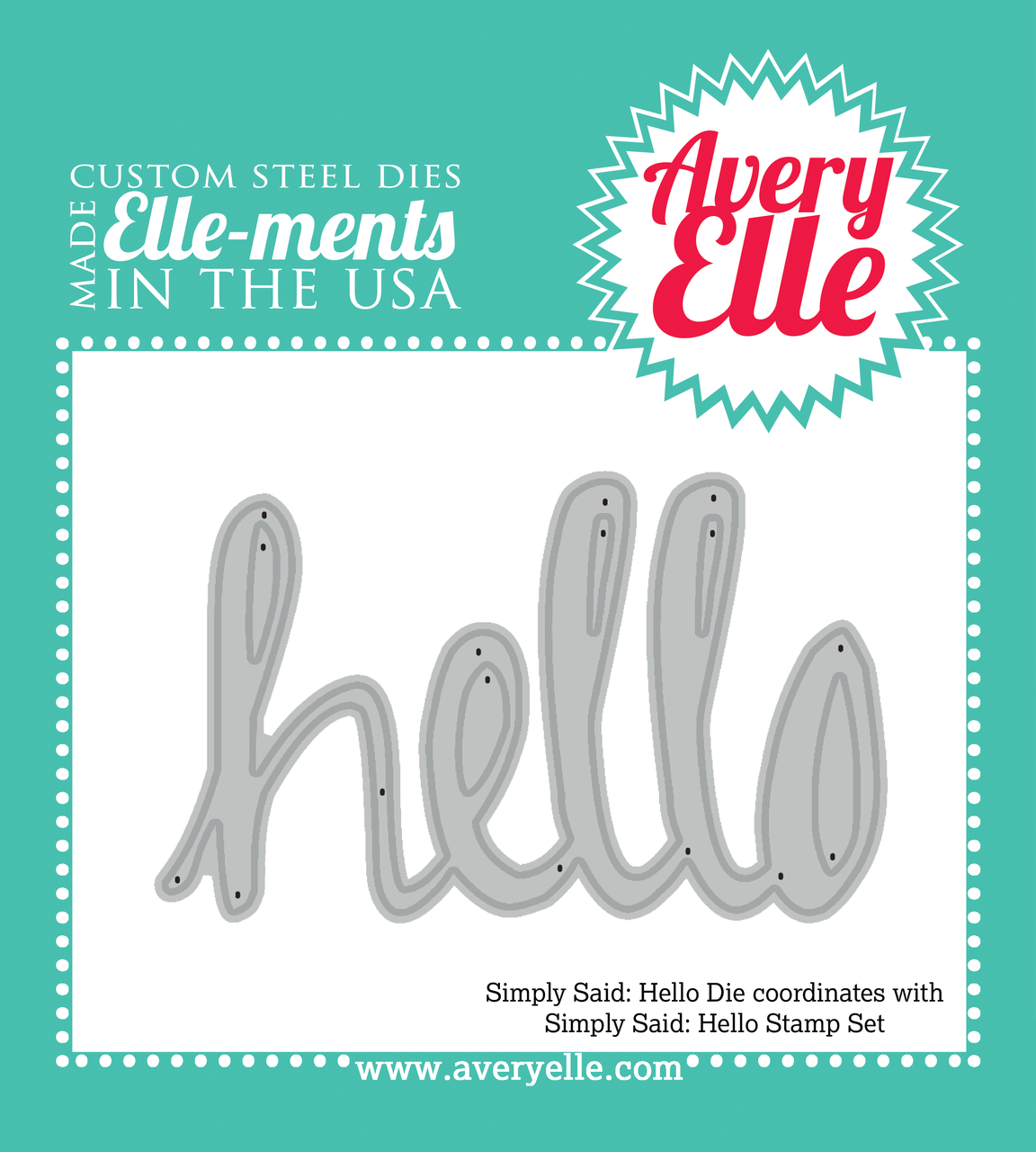 "Our Simply Said Hello 4"" x 3"" clear photopolymer stamp set and coordinating die will be a staple in any crafter's collection."