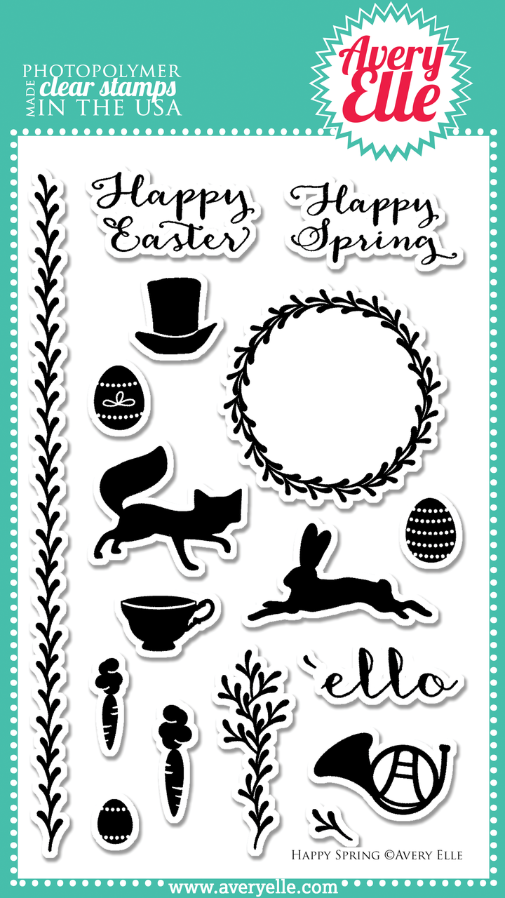 Happy Spring clear photopolymer stamp set