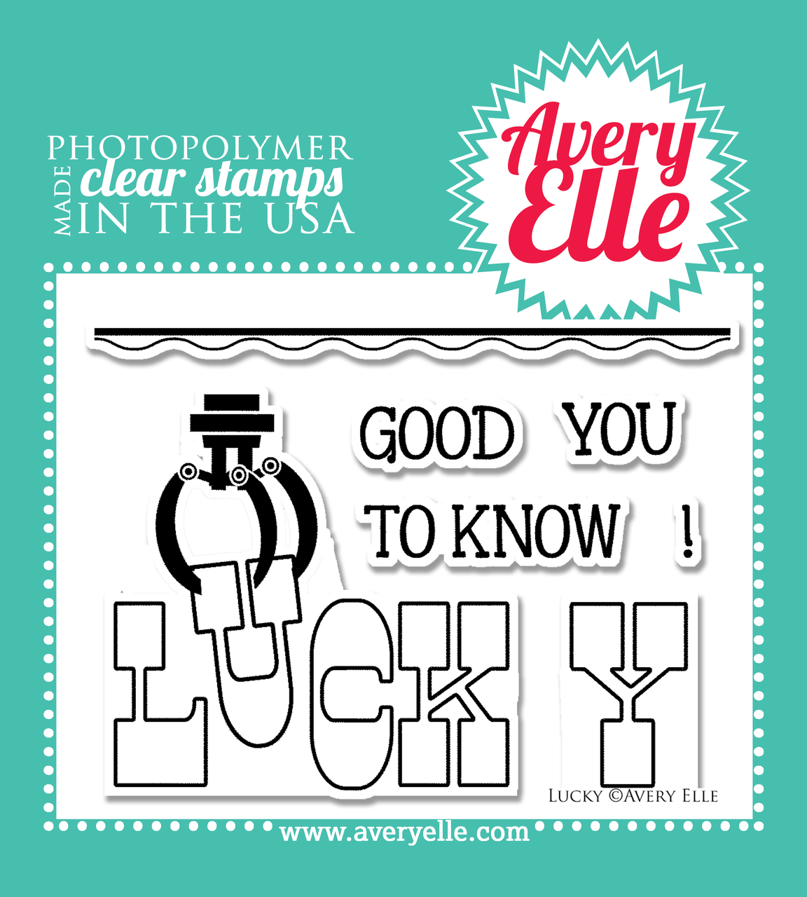 "Avery Elle Lucky 4"" x 3"" clear stamp set"