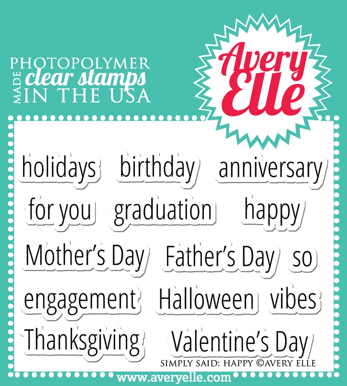Avery Elle Simply Said Happy Clear Stamps