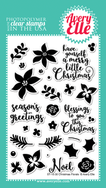 Avery Elle Christmas Florals Clear Stamps