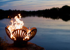 "Fire Pit Art Barefoot Beach 36"" Shells And Starfish - BB"