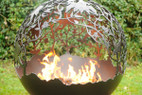 Fireball Fire Pits - Orchard Flowers - 120BTU NG Burner - 37.5 inch Fire Globe - 3715OF