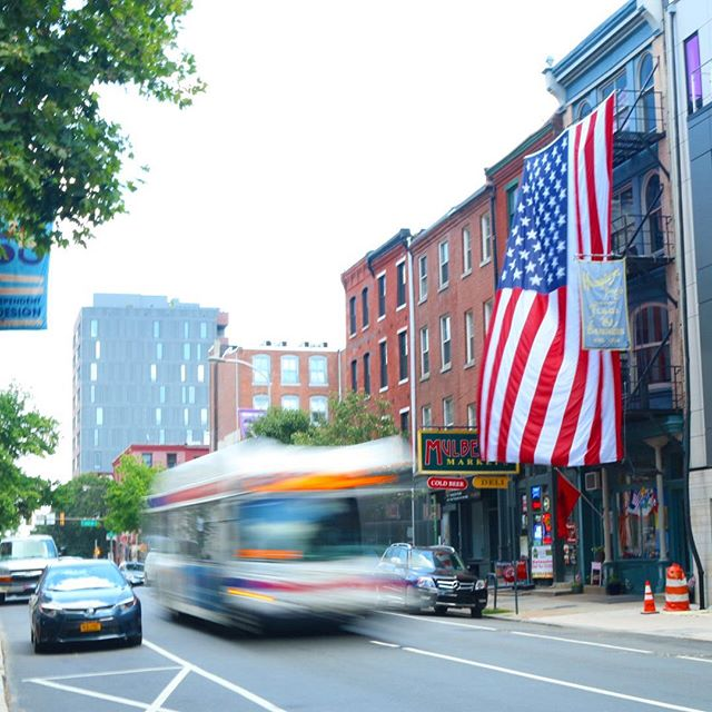 Humphrys Flag Company, Old City Philadelphia, with Septa bus