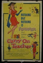 17) !962 Carry On Teacher Movie Poster Kenneth Conner Leslie Phillips