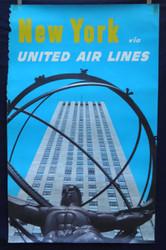 12 United Airlines - New York  Rockefeller Center 1950's