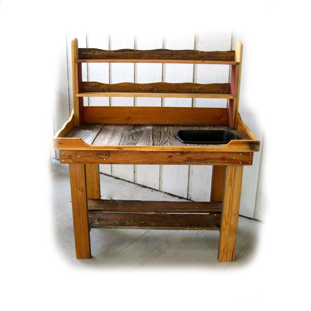 Wooden Potting Benches Recycled Wood Potting Bench Has Three Shelves