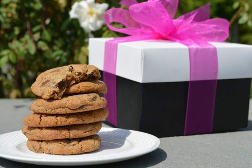 A gourmet cookie gift in a classy color box makes for a great combination.