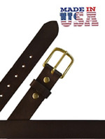 "Heavy Leather Casual Belt 1 1/2"" Dark Brown"