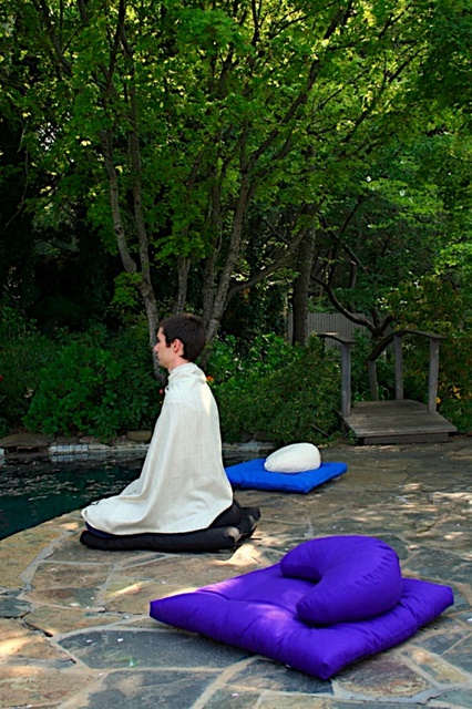 Meditating with a Zabuton and Crescent Cushion
