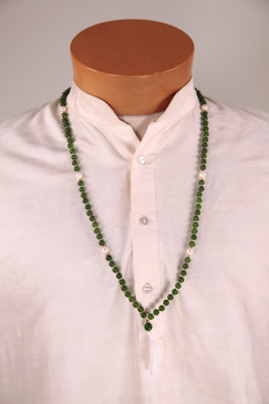 Jade Mala with pearl counter beads