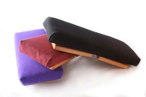 The Pilgrim Bench in indigo silk, burgundy cotton and black cotton.