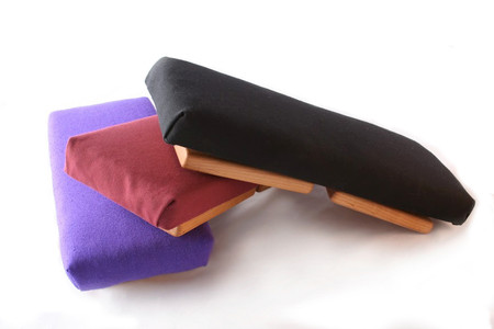 The Pilgrim Bench in indigo silk, burgundy cotton and black cotton.