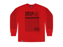 Red Long Sleeved T-shirt with Dream Globe Graphic