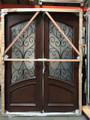 Mahogany Iron Double Door DMH-8619-Iron, Frosted Glass Solid Wood Entry Door 6 x 8