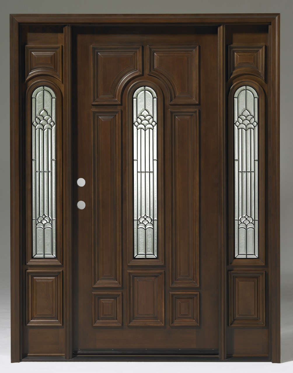 Discount Door Center Prehung And Prefinished Teak Center Arch Entry Door With Sidelights