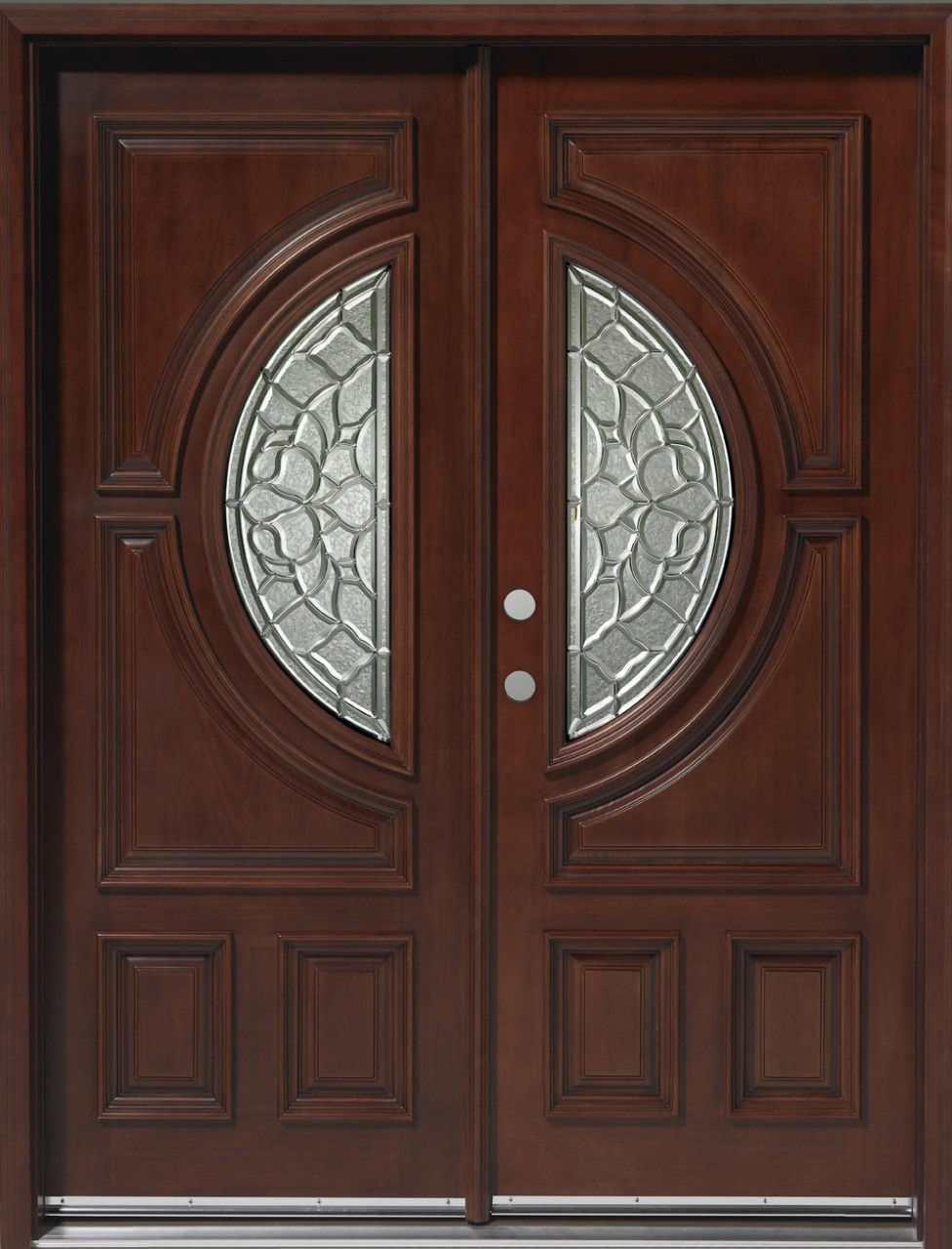 Discount door center prehung and prefinished center moon for Exterior double entry doors