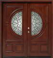 Double Mahogany Center Moon 6' Solid Wood Entry Door